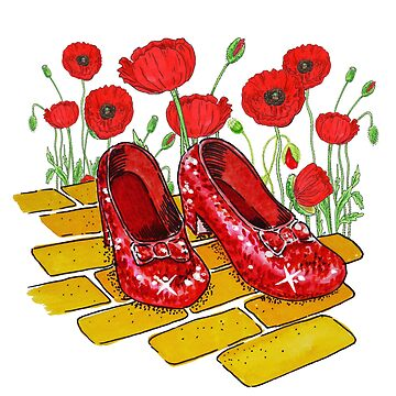 Dorothy Shoes Red Poppies Yellow Brick Road by IrinaSztukowski