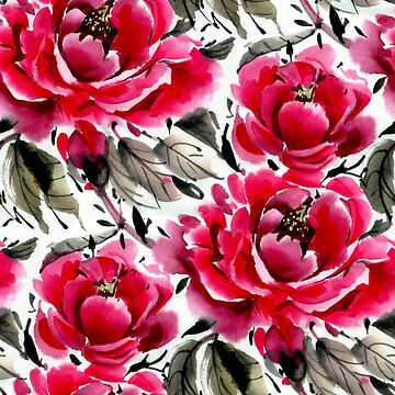 Watercolor flowers. Peonies.   by lamarmarina