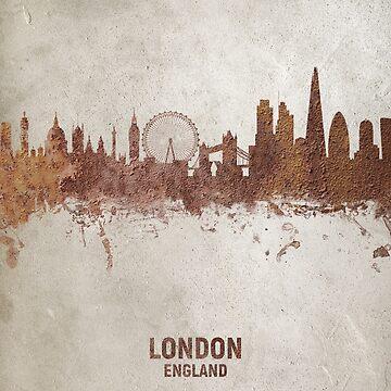 London England Rust Skyline by ArtPrints