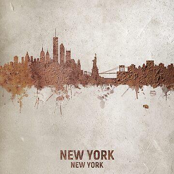 New York Rust Skyline by ArtPrints