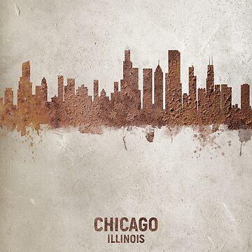 Chicago Illinois Rust Skyline by ArtPrints