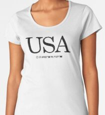 USA United States of America Coordinates Artwork Longitude & Latitude Women's Premium T-Shirt