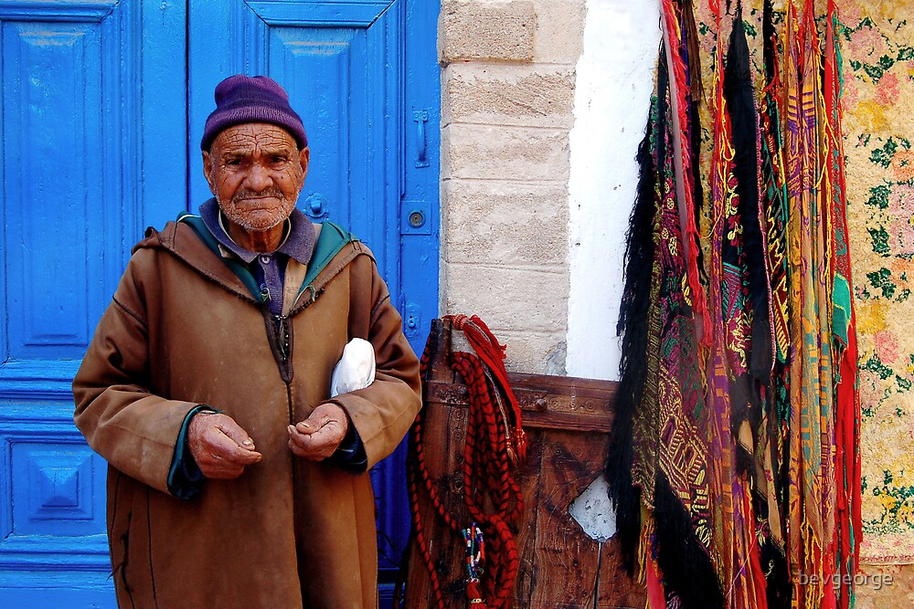 Old Man in Souk, Essaouira by bevgeorge
