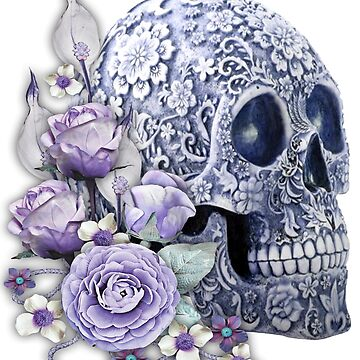 Unique Cool Blue Floral Purple Flowers Skull by Atteestude
