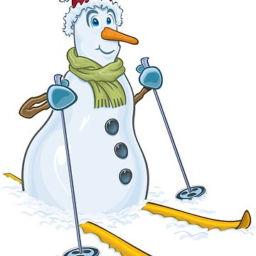 Skiing snowman winter christmas by emphatic
