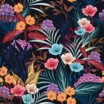 Gorgeous Unique Floral on Dark Background by pugmom4