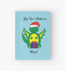 Christmas Cute Dragon Magical Snowflakes Blue Hardcover Journal