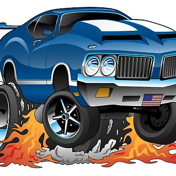 Classic Seventies American Muscle Car Hot Rod Cartoon Illustration by hobrath