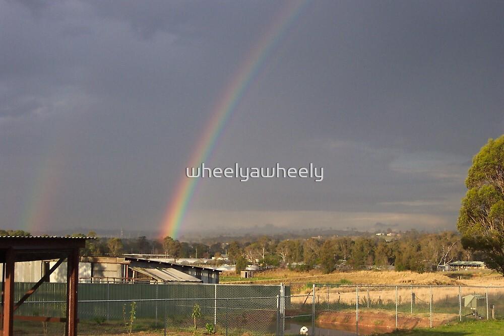 Rainbow in my backyard by wheelyawheely