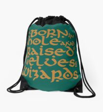 Born in a Hobbit hole Drawstring Bag