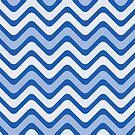 White, Dark Blue and Light Blue Wave Pattern by livejoytoday