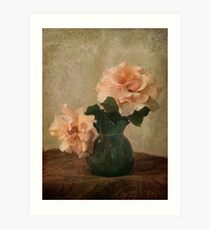 two apricot roses in a green jug Art Print
