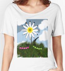 White Daisy  & Caterpillars Women's Relaxed Fit T-Shirt