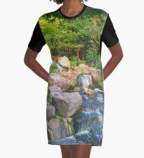 Japanese Waterfall Graphic T-Shirt Dress