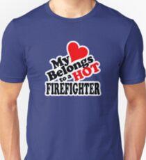 My Heart Belongs to a HOT Firefighter Unisex T-Shirt