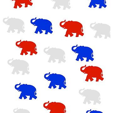 Republican Elephants Red White and Blue by spinningvisions