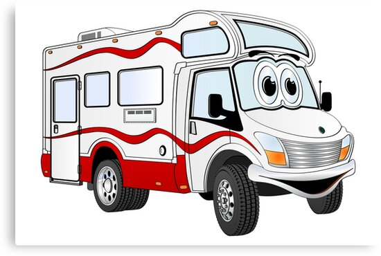 Red Cartoon Camper by Graphxpro