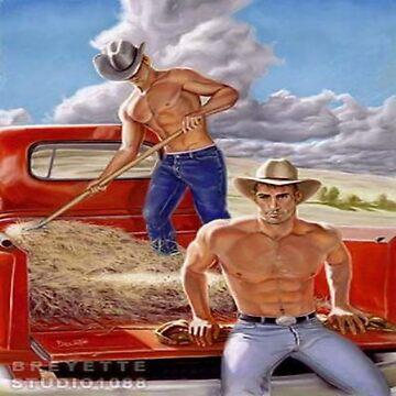 Shirtless Farmboys Baling Straw by bebebelle