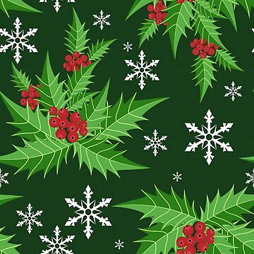 Lovely Holiday Christmas Floral and Snowflakes by pugmom4