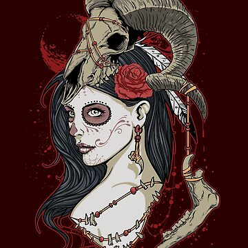 Esoteric, Zombie Girl, Witch Shirts, Black Magik, Voodoo, Occult, Goat Head, Jaw bone, Teeth, Alchemy, Alchemist, Satanic Gifts by manbird