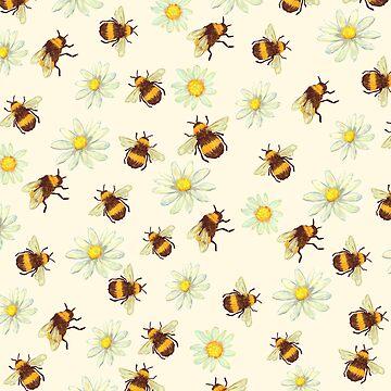 Cute Bumblebee and Daisies by EarthlyIndigo