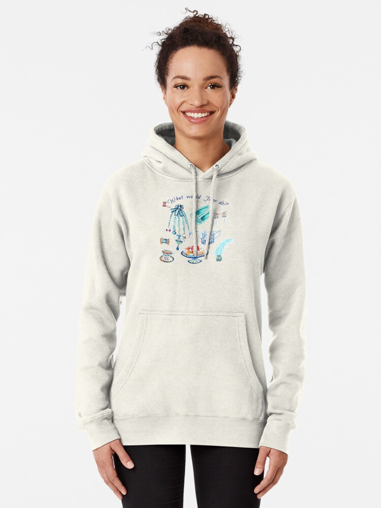 Alternate view of Jane Austen favourite things and daily objects in watercolor Pullover Hoodie