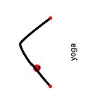 Stick figure of downward dog pose with yoga text. by Mindful-Designs