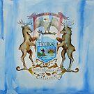 Michigan State Flag - Artistic Watercolor Interpretation  by Allise Noble
