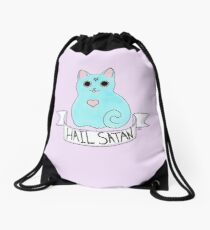 Hail Satan cat Drawstring Bag