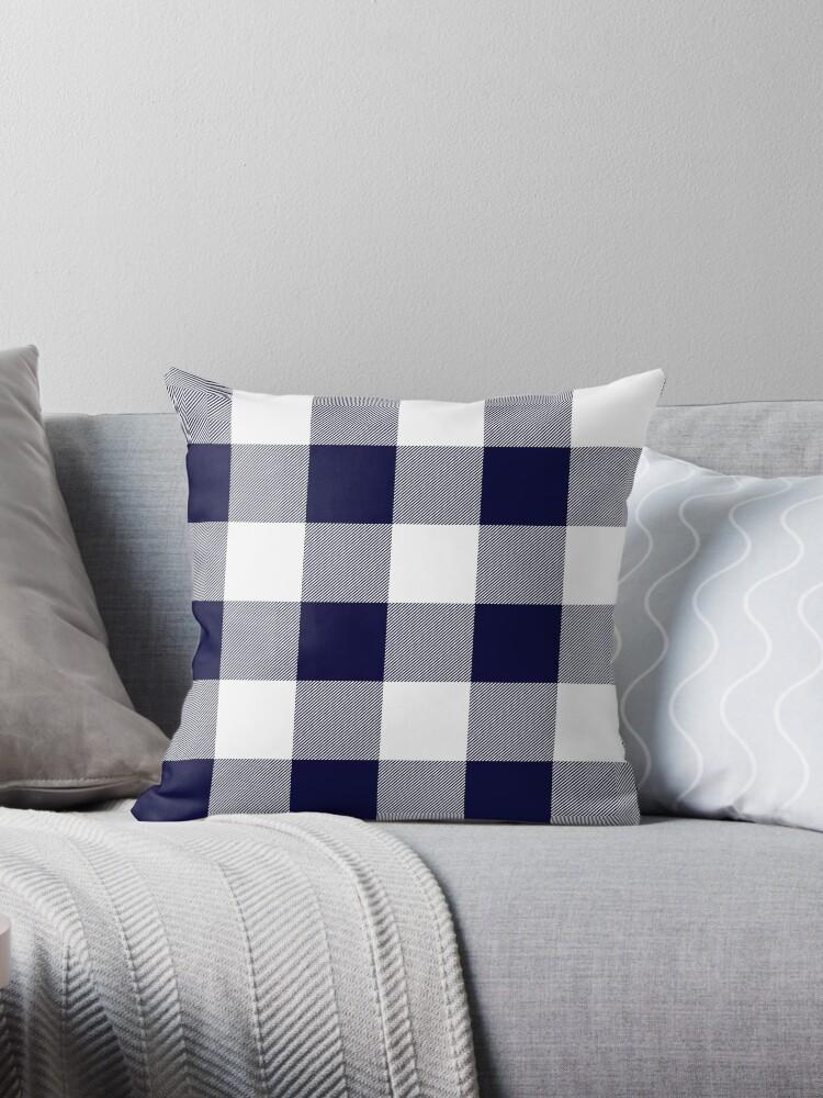 1857f78e241 Buffalo Check Navy Blue And White Plaid Wide Stripes