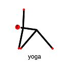 Stick figure of triangle yoga pose with yoga text. by Mindful-Designs