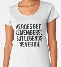 Helden erinnern sich, aber Legenden sterben nie den Sandlot-Film-Fan-Text Art Premium Rundhals-Shirt