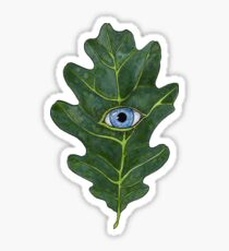 Oak Leaf with an Eye Watercolor Painting Sticker