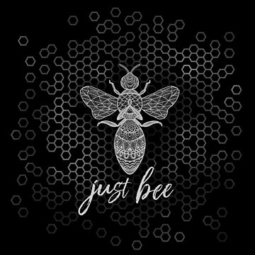 Just Bee - White Geometric Zen Bee Meditating over Honeycomb Hive by jitterfly
