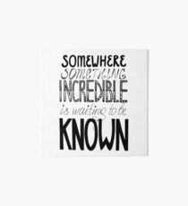 Somewhere Something Incredible Is Waiting To Be Known Art Board