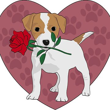 Cute Jack Russell puppy with rose by GBCdesign