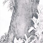 Tree trunk with plants by Lauren E Tarrant