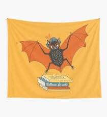 Bat granny in the library  Wall Tapestry