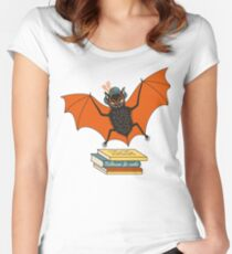 Bat granny in the library  Women's Fitted Scoop T-Shirt