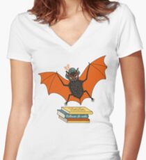 Bat granny in the library  Women's Fitted V-Neck T-Shirt