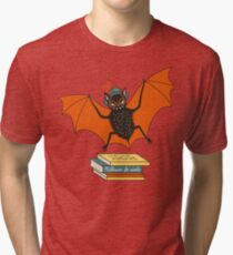 Bat granny in the library  Tri-blend T-Shirt