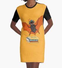 Bat granny in the library  Graphic T-Shirt Dress
