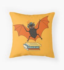 Bat granny in the library  Throw Pillow