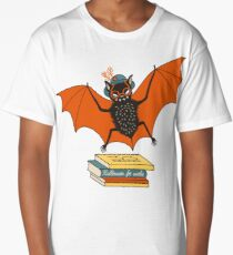 Fledermaus Oma in der Bibliothek Longshirt
