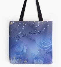 Siniset Ruusut Kultalumella Tote Bag