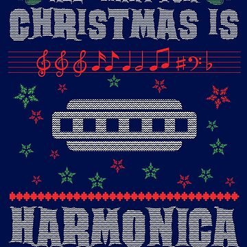 Harmonica Player Ugly Christmas Sweater Style Shirt for Marching Band Musician by niftee