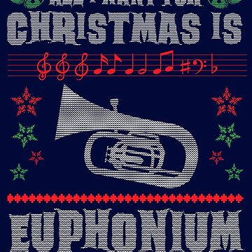 Baritone Euphonium Player Ugly Christmas Sweater Style Shirt for Marching Band Musician by niftee