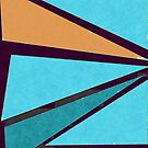 Retro Geometrical Triangles in Blue Shades and Orange by ibadishi