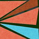 Retro Geometrical Triangles in Dark Orange Shades and Blue by ibadishi