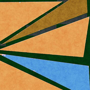 Retro Geometrical Triangles in Orange Warm Colors and Blue by ibadishi